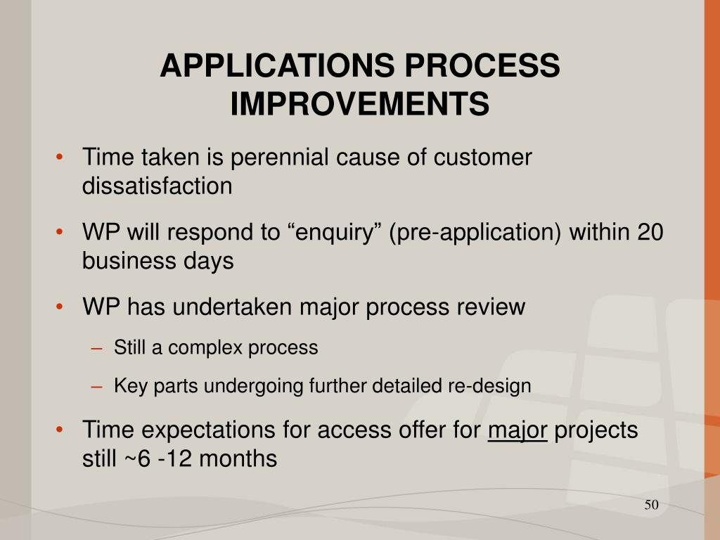 APPLICATIONS PROCESS IMPROVEMENTS