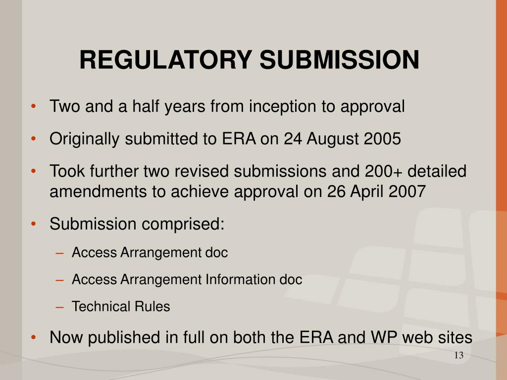 REGULATORY SUBMISSION