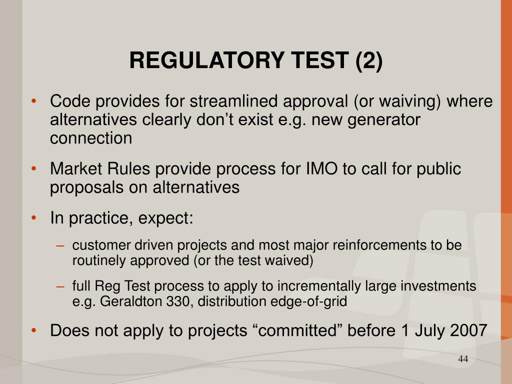 REGULATORY TEST (2)