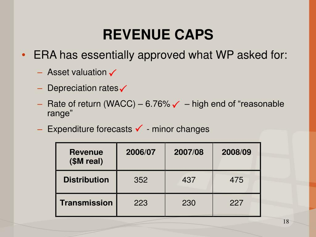 REVENUE CAPS