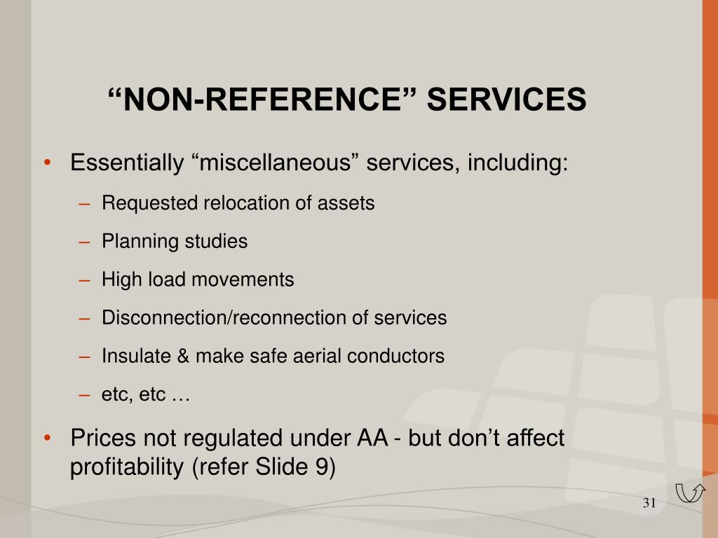 """NON-REFERENCE"" SERVICES"