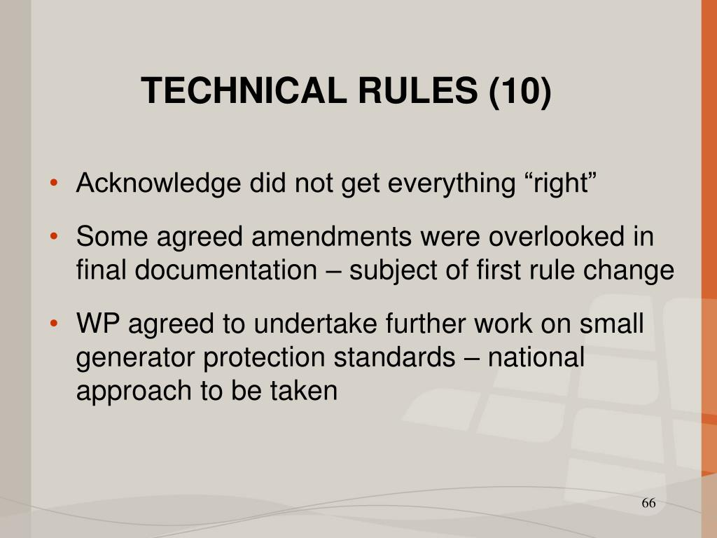TECHNICAL RULES (10)