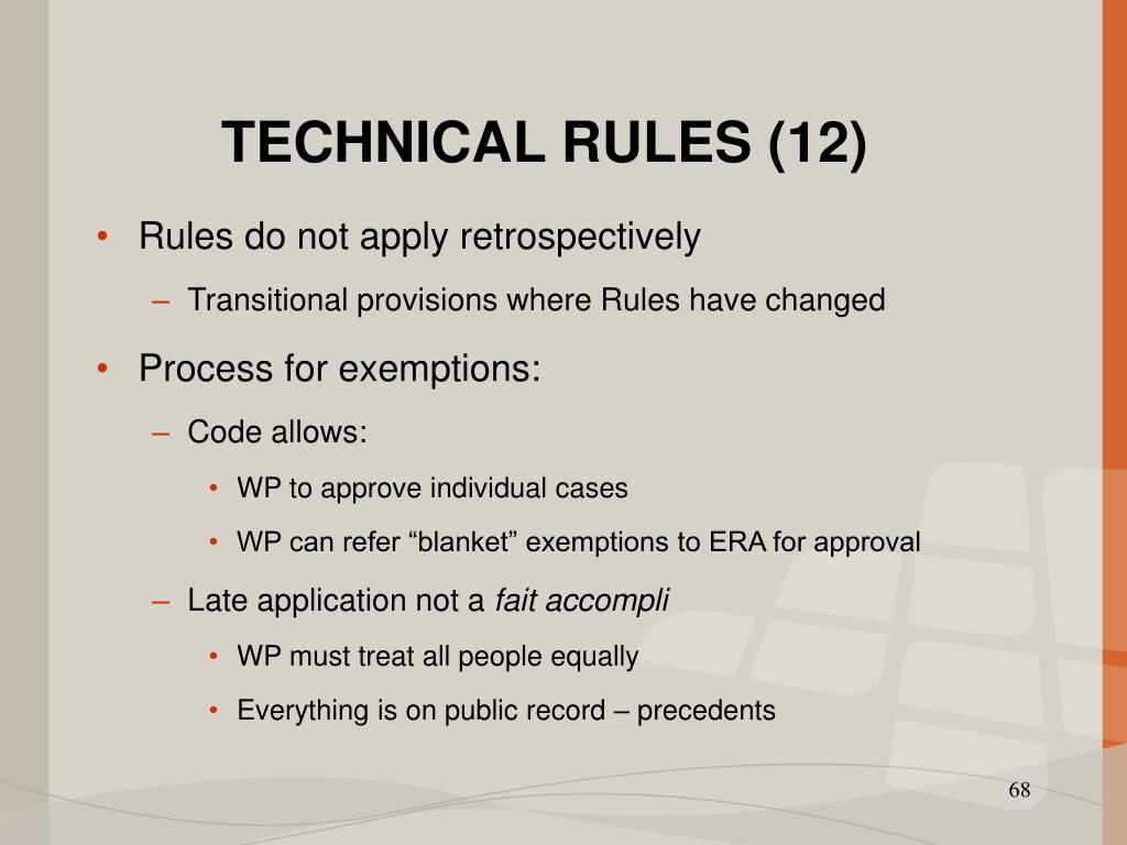 TECHNICAL RULES (12)