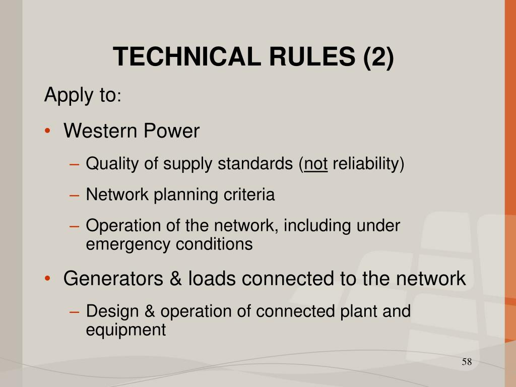 TECHNICAL RULES (2)