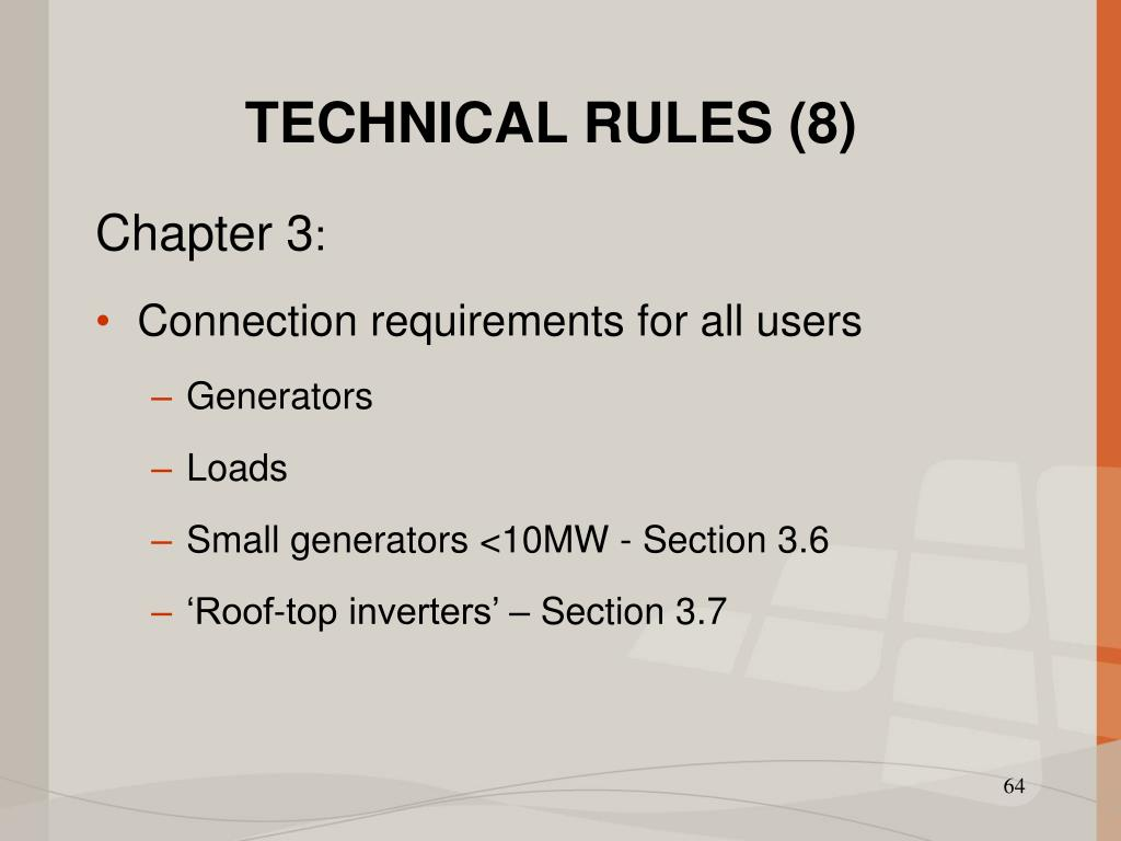 TECHNICAL RULES (8)