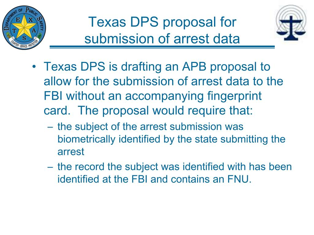 Texas DPS proposal for submission of arrest data