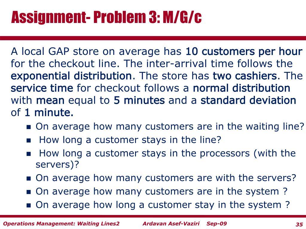 Assignment- Problem 3: M/G/c