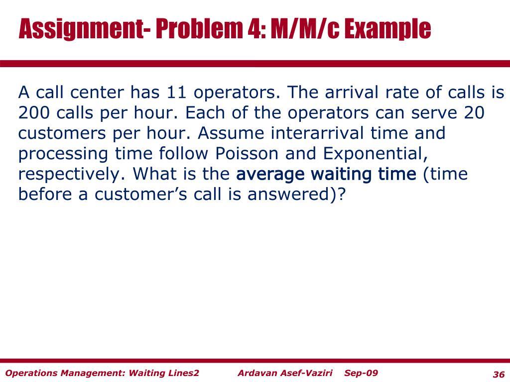 Assignment- Problem 4: M/M/c Example