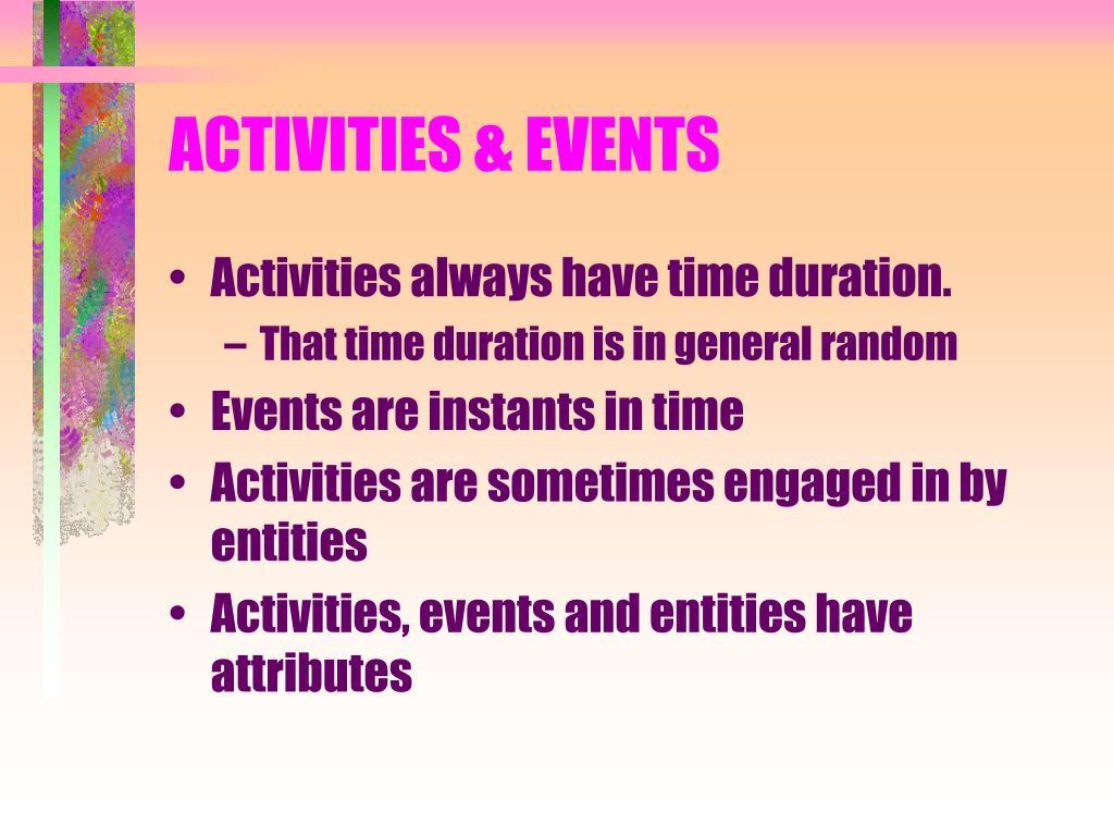 ACTIVITIES & EVENTS