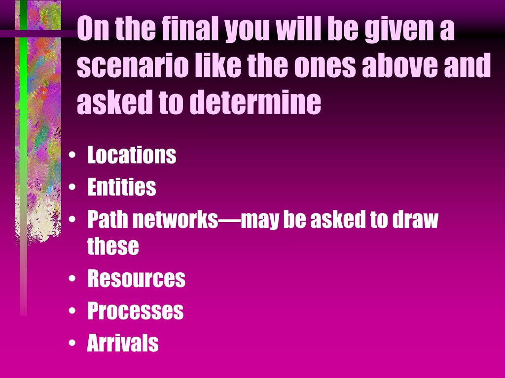 On the final you will be given a scenario like the ones above and asked to determine
