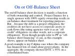 on or off balance sheet36