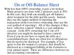 on or off balance sheet37
