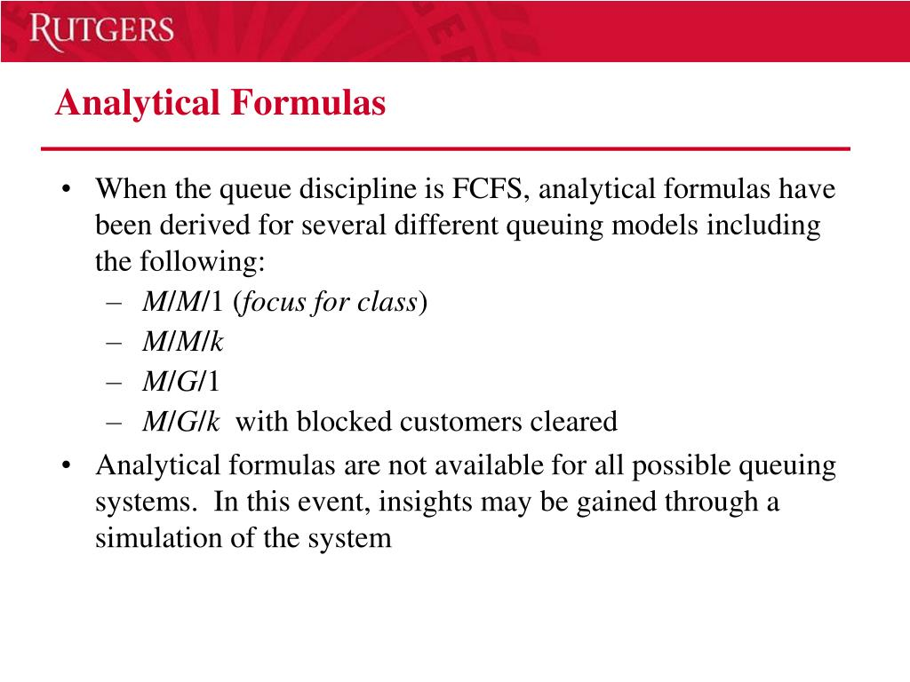 Analytical Formulas