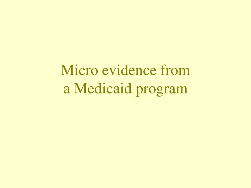 Micro evidence from