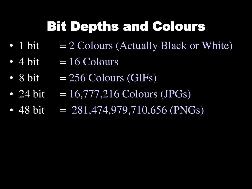 Bit Depths and Colours
