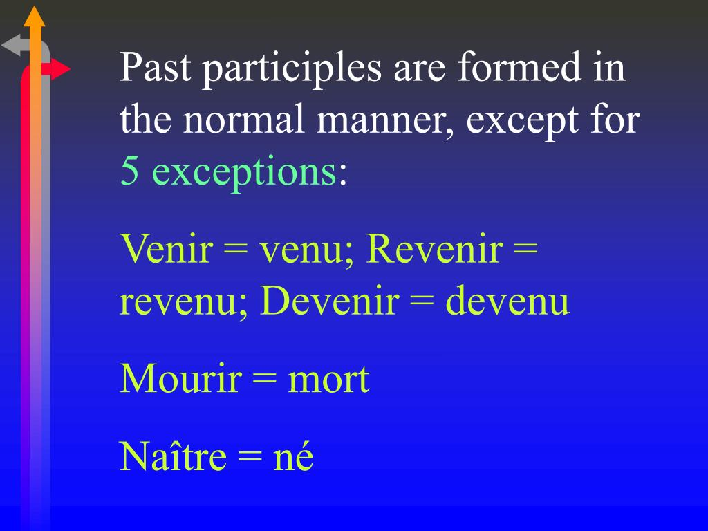 Past participles are formed in the normal manner, except for