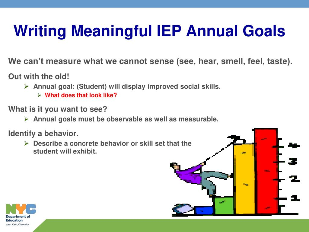 writing goals and objectives iep 2 symbolic level description writing: iep goals/objectives pre-symbolic level uses objects or gestures to an object to communicate/ write • shows differentiation in.