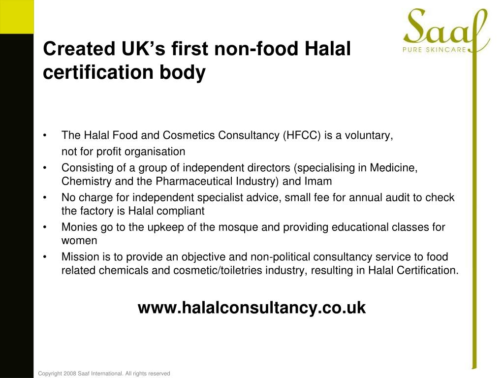 Created UK's first non-food Halal certification body