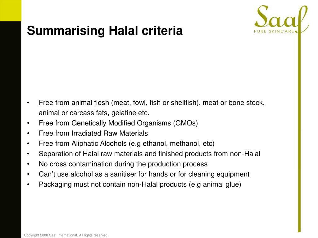 Summarising Halal criteria