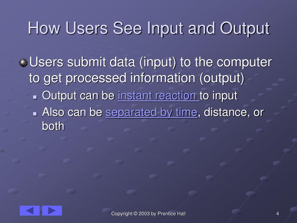 How Users See Input and Output