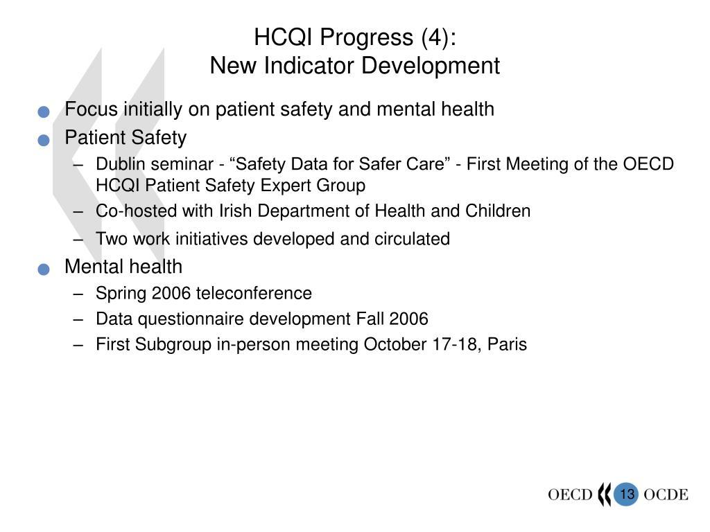 HCQI Progress (4):