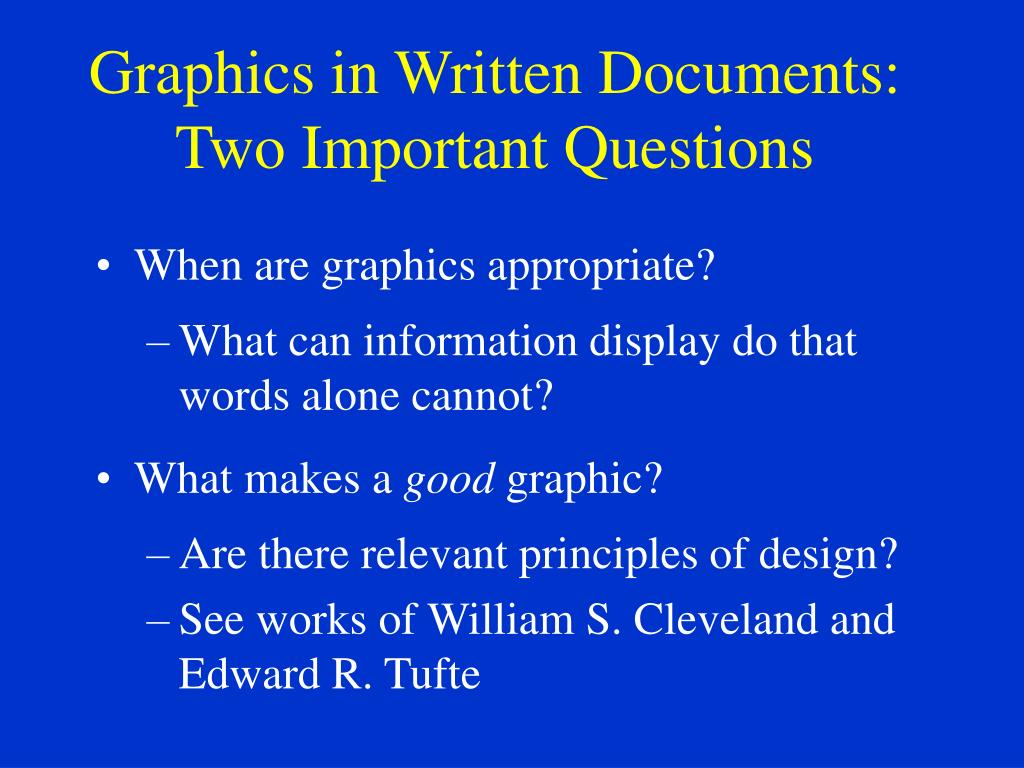 Graphics in Written Documents: Two Important Questions