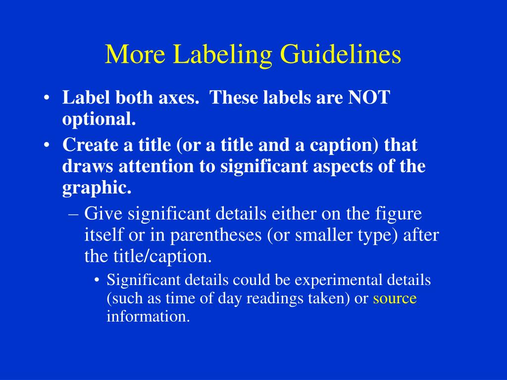 More Labeling Guidelines