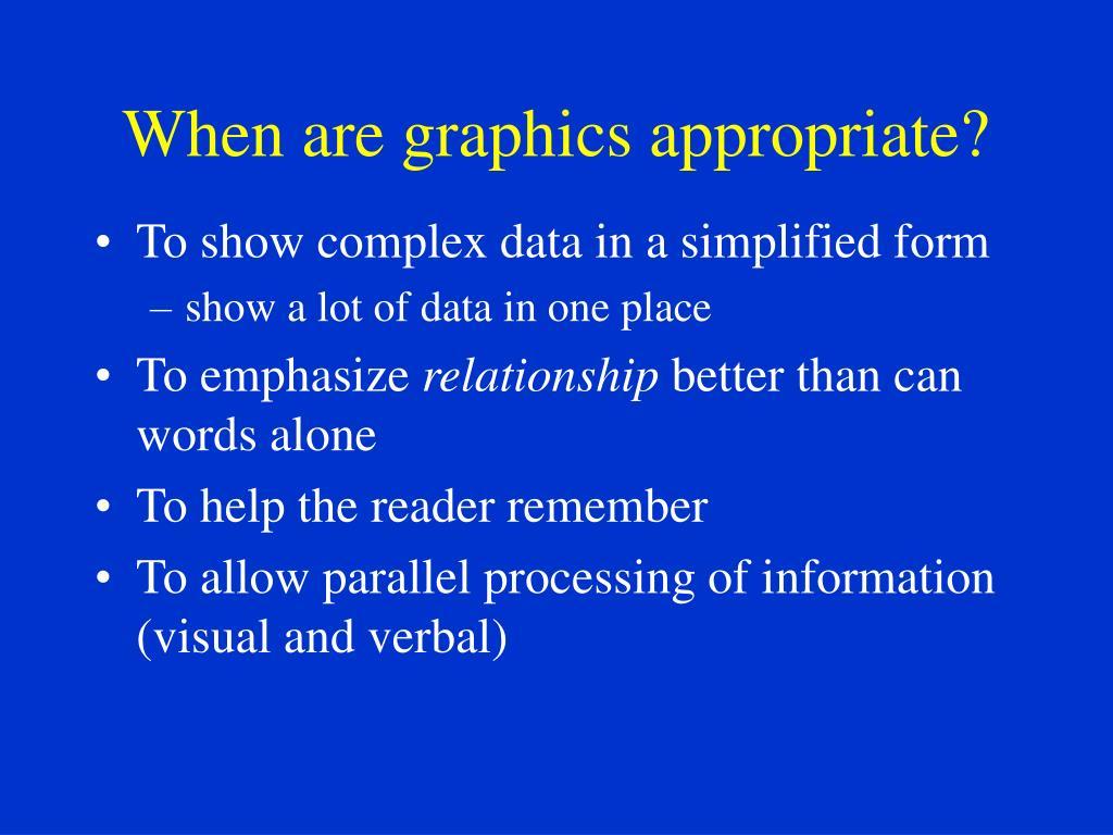When are graphics appropriate?