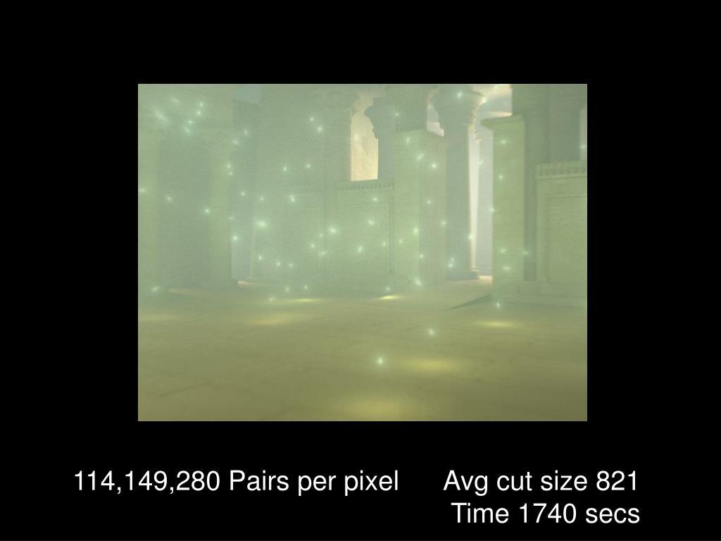 114,149,280 Pairs per pixel      Avg cut size 821