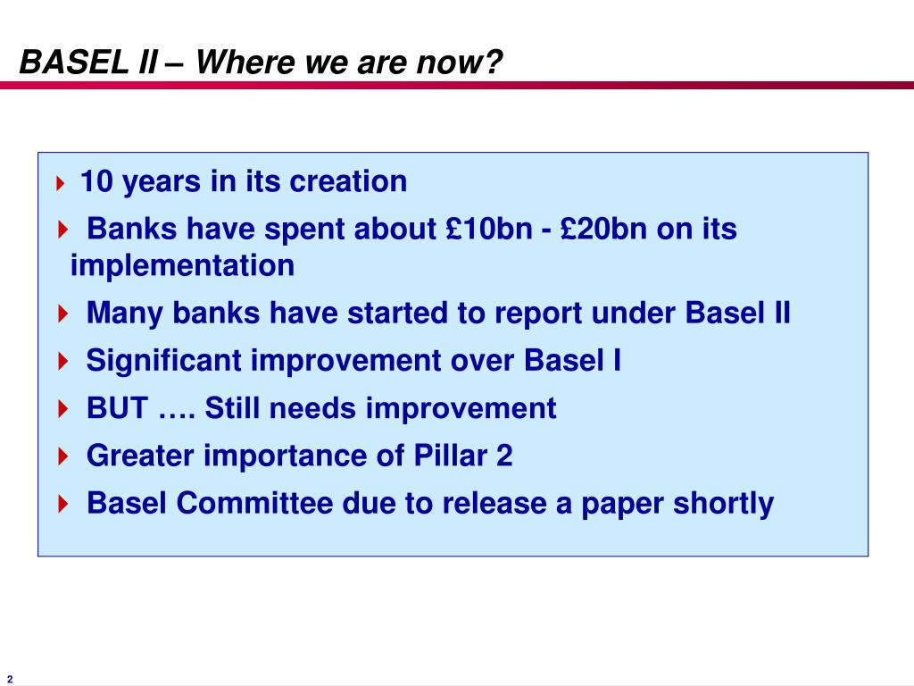 BASEL II – Where we are now?