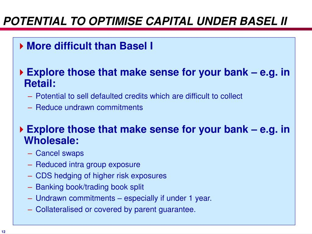 POTENTIAL TO OPTIMISE CAPITAL UNDER BASEL II