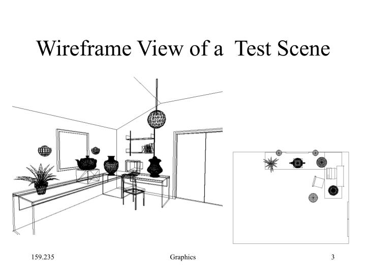 Wireframe view of a test scene