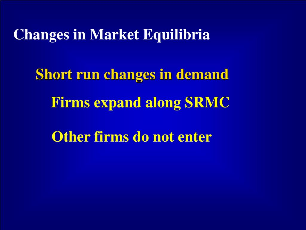 Changes in Market Equilibria