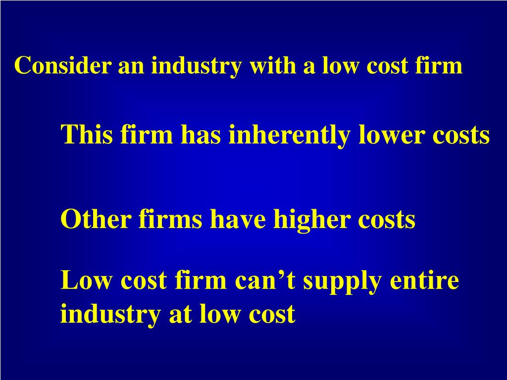Consider an industry with a low cost firm
