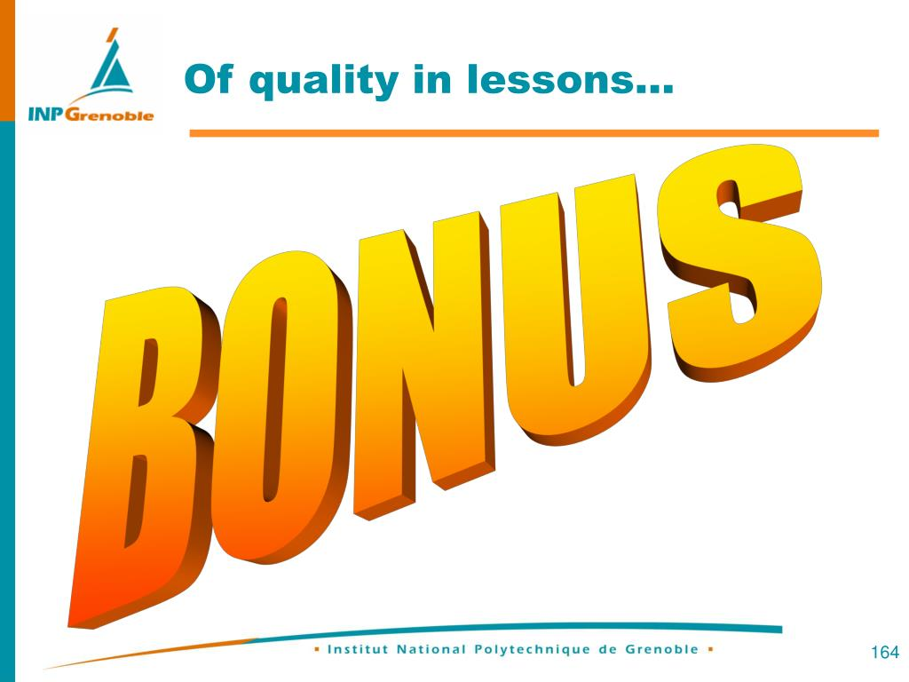 Of quality in lessons…
