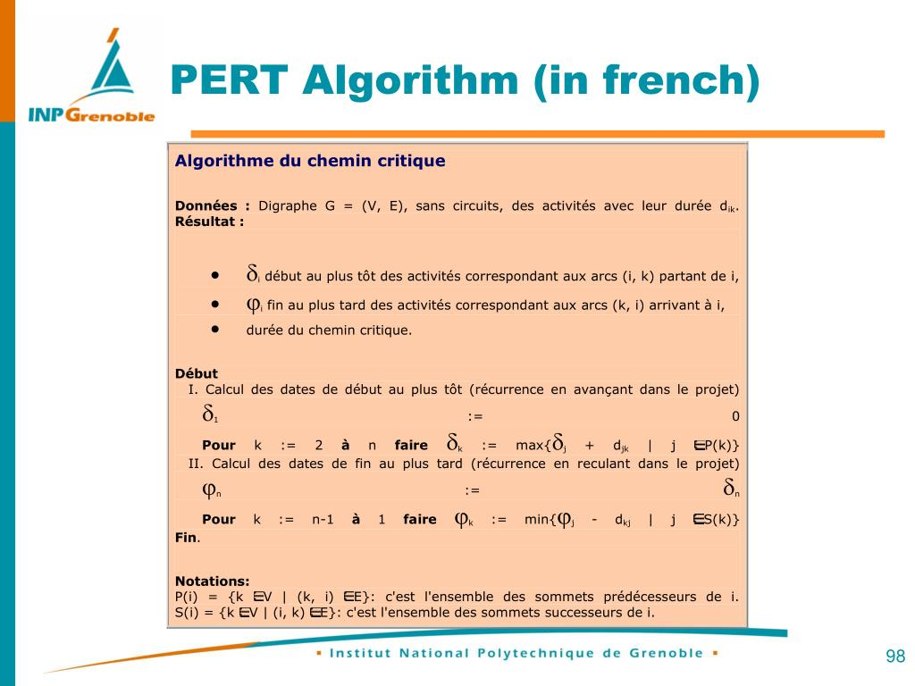 PERT Algorithm (in french)