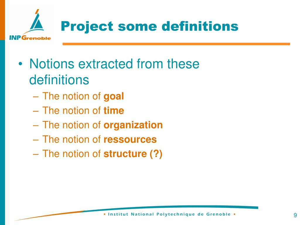 Project some definitions