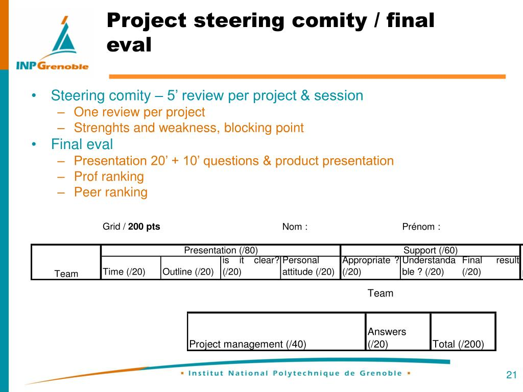 Steering comity – 5' review per project & session