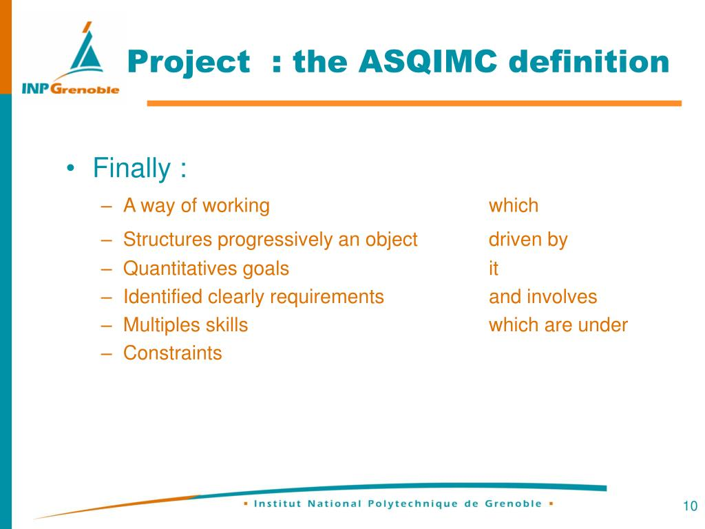 Project  : the ASQIMC definition