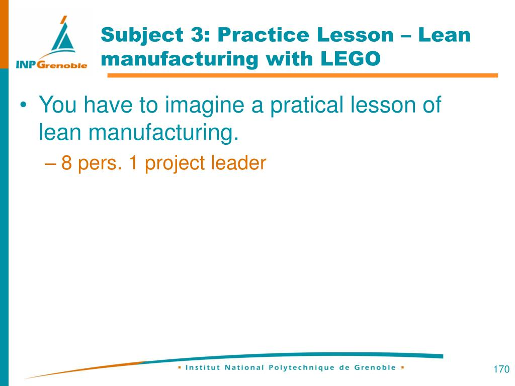 Subject 3: Practice Lesson – Lean manufacturing with LEGO