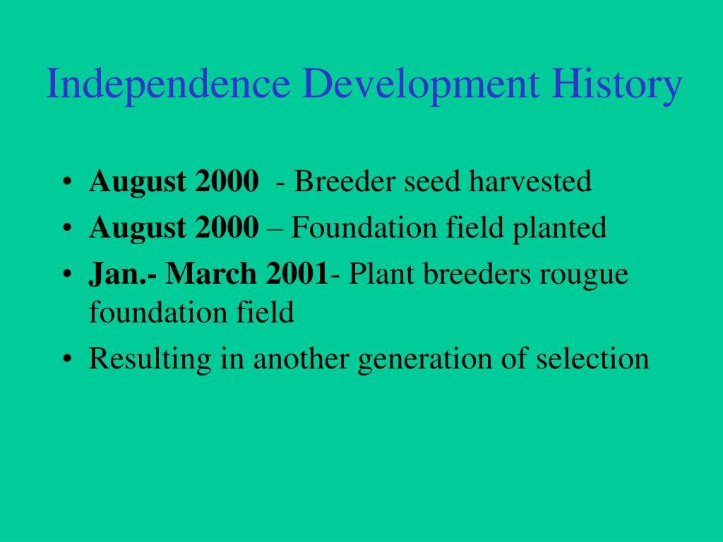 Independence Development History