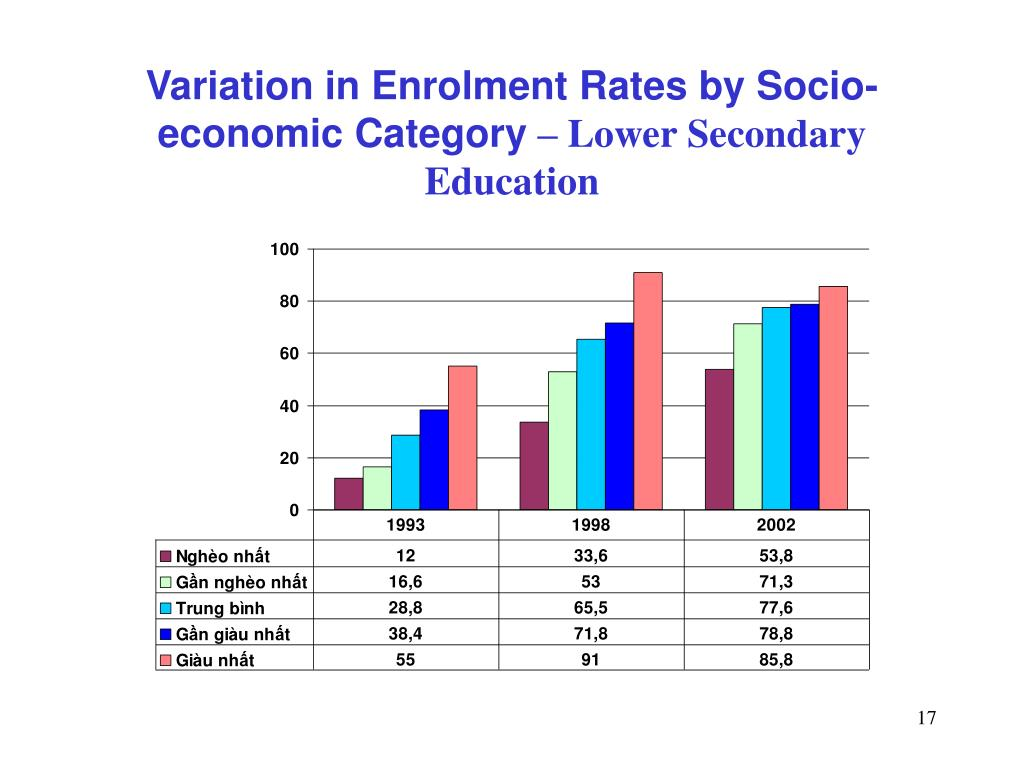 Variation in Enrolment Rates by Socio-economic Category