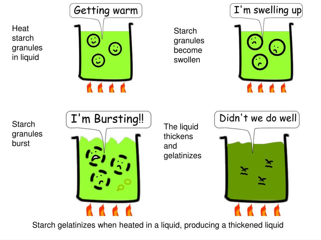 Heat starch granules in liquid
