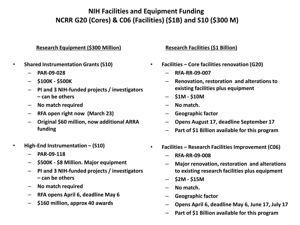 NIH Facilities and Equipment Funding