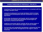 characterization of proposals projects