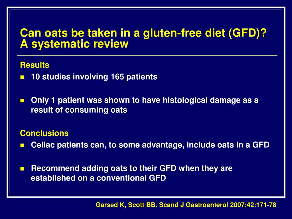 Can oats be taken in a gluten-free diet (GFD)? A systematic review