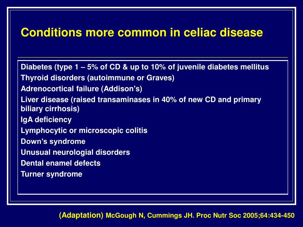 Conditions more common in celiac disease