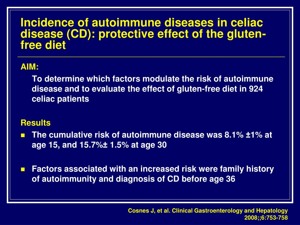 Incidence of autoimmune diseases in celiac disease (CD): protective effect of the gluten-free diet