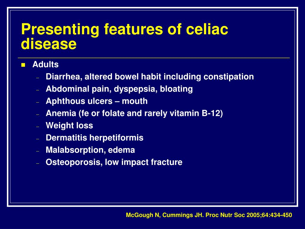 Presenting features of celiac disease