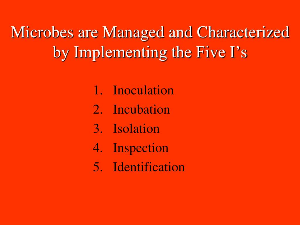 Microbes are Managed and Characterized by Implementing the Five I's